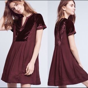 Anthro Maeve Small Ingrid Velvet Dress XS Petite